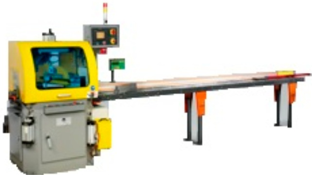 Upcut sawing machines with cnc controlled miter adjustment in fully automatic operation | PMI Saws