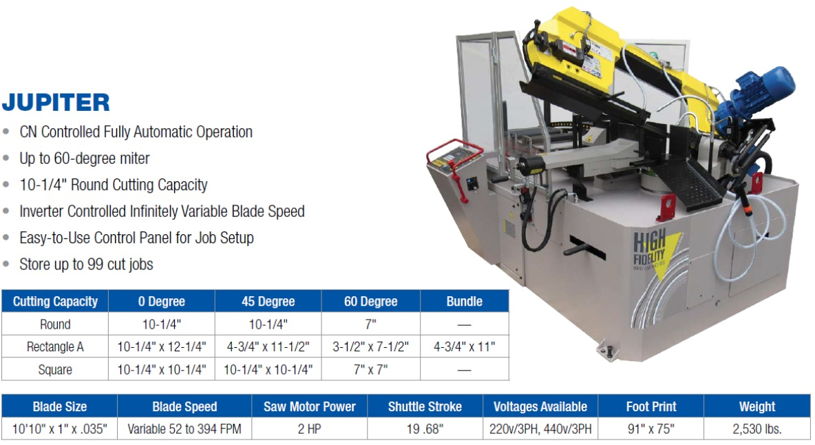Automatic Horizontal Band Saw with miter cutting to 60 degrees, cn controlled, inverter blade speed, job storage, easy to use control panel FMB Jupiter