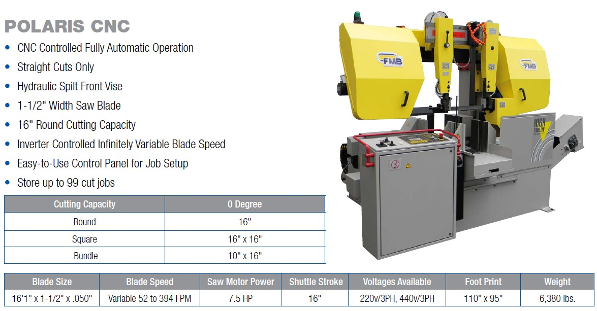 "16"" Round Cutting Capacity Band Saw Cutting Machine with 1-1/2"" Width Band Saw Blade CNC Controlled FMB Polaris Saw"